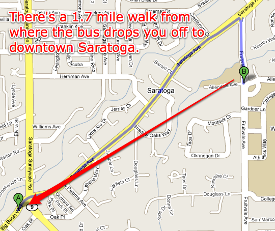 There's a 1.7 mile walk from where the bus drops you off to downtown Saratoga.