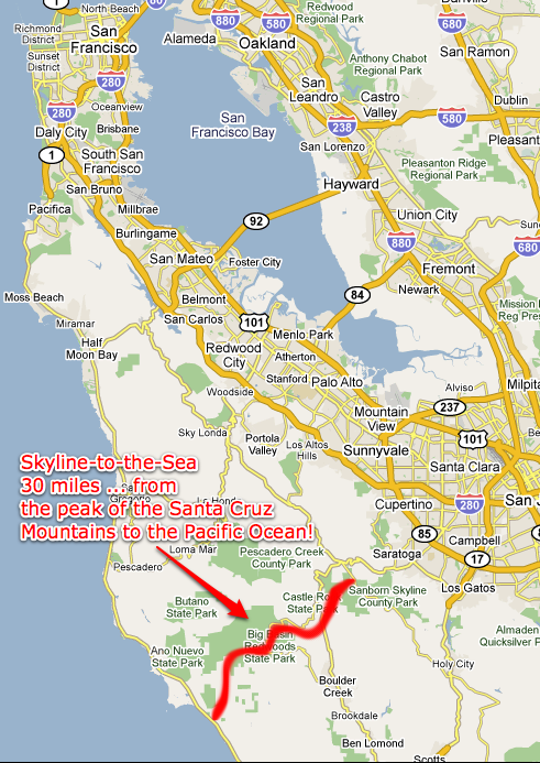 Skyline-to-the-Sea trail in the context of the larger Bay Area.