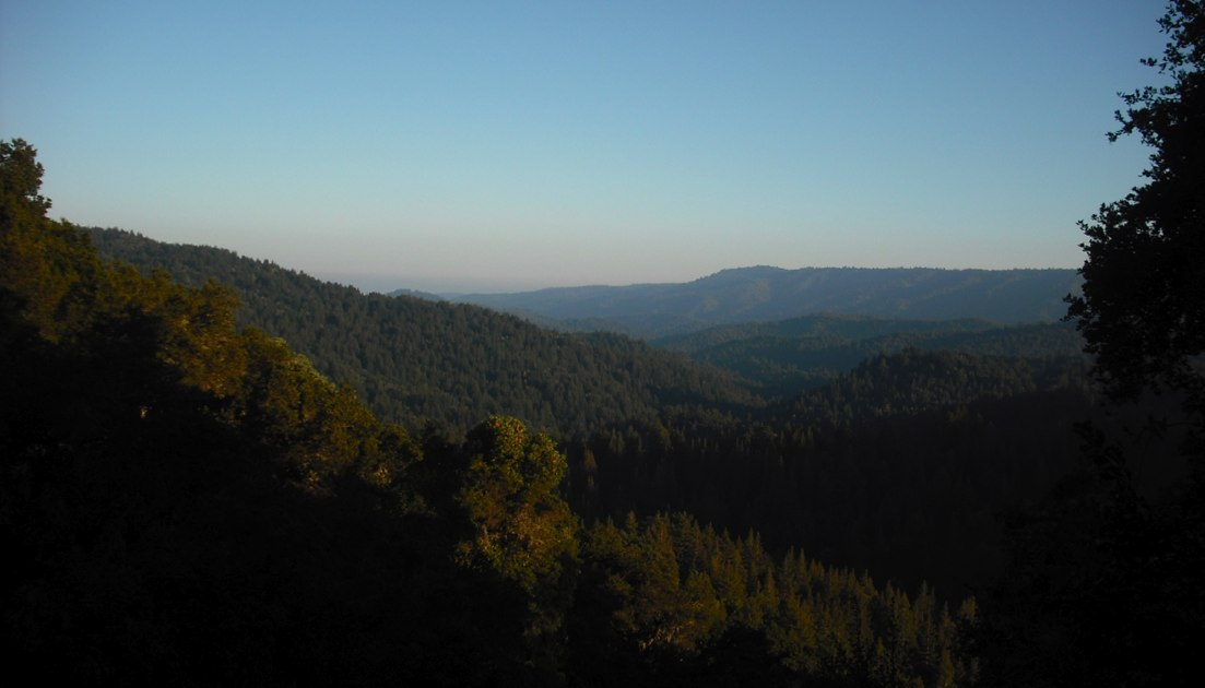 Another beautiful view, this one from just above Big Basin State Park, on the straight-up Skyline-to-the-Sea trail just before the descent to Opal Creek.