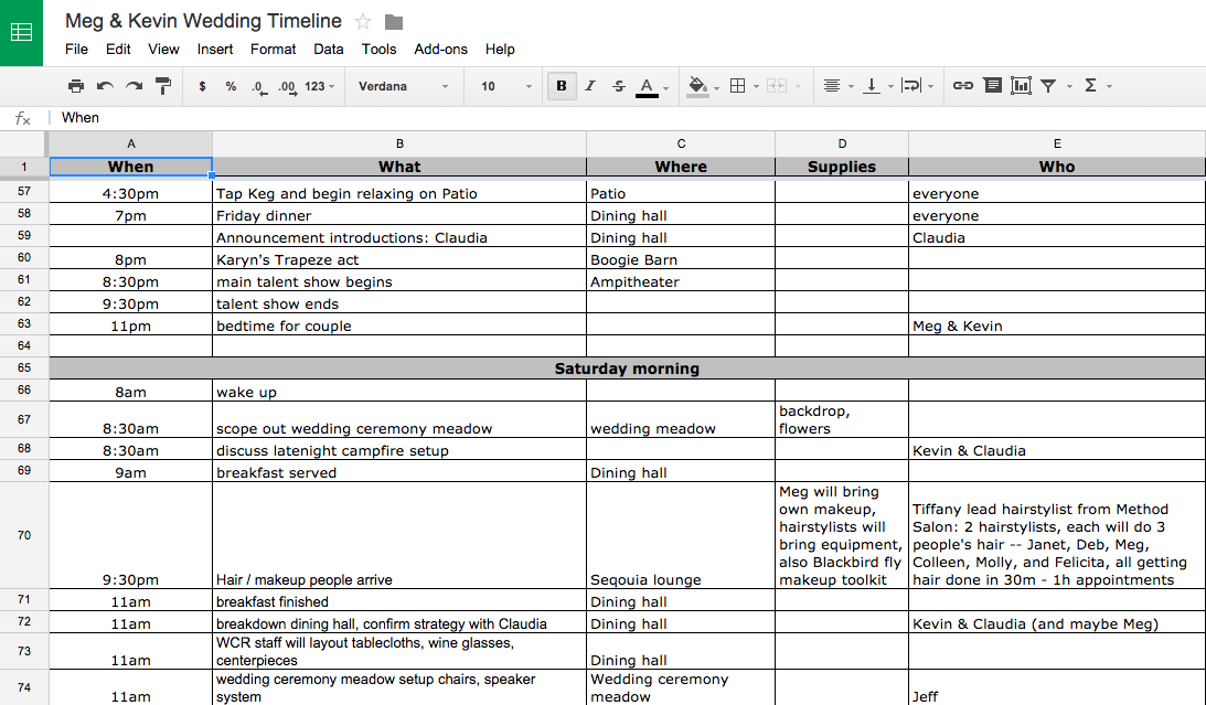 'A spreadsheet showing the who, where, what, and when of the wedding'